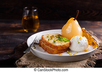 Brioche, cake with poached in wine pear