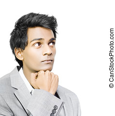 Asian businessman in deep contemplation - Young handsome...