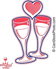 Two wineglasses vector artistic illustration