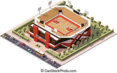 Vector isometric basketball arena