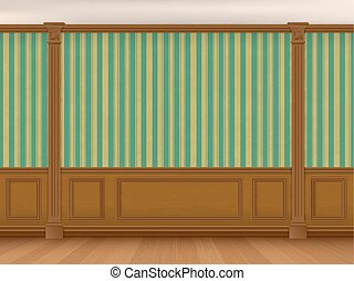 Fragment of the interior cabinet in a classic style. Wall...