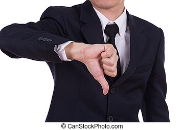 Businessman pointing thumbs down isolated on white...