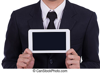 Businessman holding a small tablet touch computer