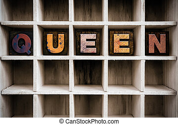 Queen Concept Wooden Letterpress Type in Drawer - The word...