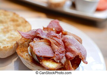 Bacon Ciabatta Sandwich - A thick cut cooked bacon sandwich...