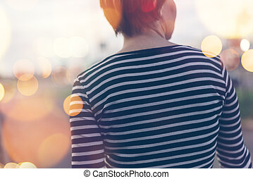 Casual ordinary woman walking down the street - Casual...
