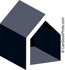 Property developer conceptual business icon, real estate emblem.  Building modeling and engineering projects vector abstract symbol. Simple house depiction.