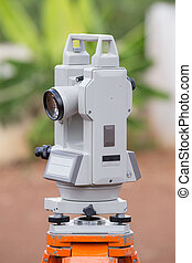 Surveyor equipment tacheometer or theodolite outdoors at...