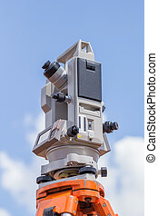 Surveyor equipment tacheometer or theodolite outdoors with...