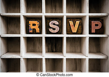 RSVP Concept Wooden Letterpress Type in Drawer - The word...