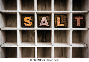 Salt Concept Wooden Letterpress Type in Drawer - The word...