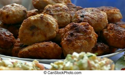 fried cutlet Group on the table on a plate - fried cutlet...