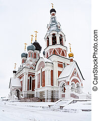 The Transfiguration Cathedral in Berdsk, Russia in winter...