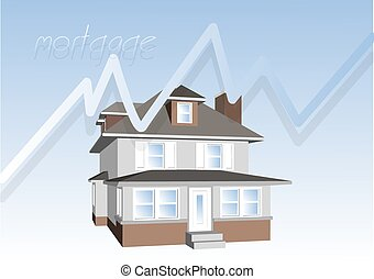 mortgage consept. house on blue background and graph