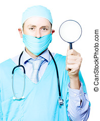 Medical examination and investigation - Doctor in gown and...