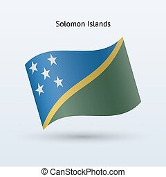 Solomon Islands flag waving form. - Solomon Islands flag...