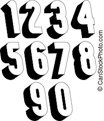 3d black and white numbers.