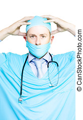 Brain doctor or neurosurgeon - Surgeon in mask and gown...