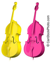 Two Cello bright colors isolated on white background