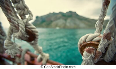 Ropes on the Boat - view from the ship through the ropes