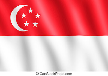 Flag of Singapore waving in the wind giving an undulating...