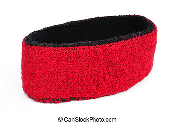 Red Sweatband Headband Isolated on White
