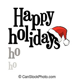 Happy Holidays lettering with Santa Claus cap
