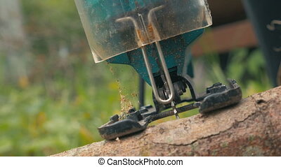 Chainsawing Small Log - Close up of the chainsaw cutting the...