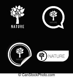 nature symbol black and white vector on black