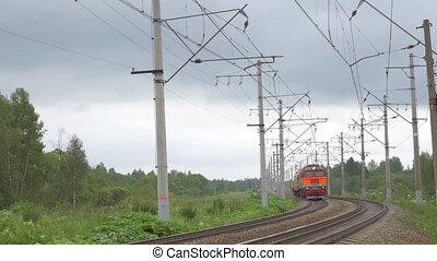 Locomotive moving in the countryside - Locomotive engine...