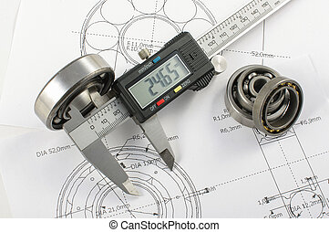 Bearing and caliper on the mechanic - Precise instrument...