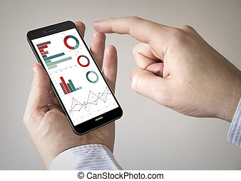 touchscreen smartphone with graphs on the screen