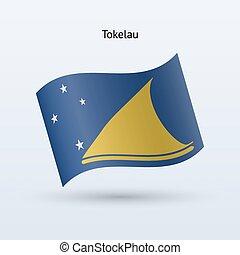 Tokelau flag waving form. Vector illustration. - Tokelau...
