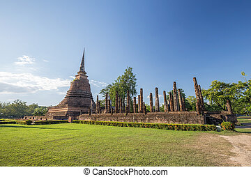 Ancient buddhist temple ruins in Sukhothai historical...