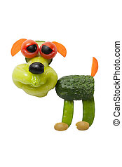 divertido, perro, hecho, de, vegetales, en, aislado, Plano...