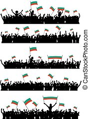 Cheering or Protesting Crowd Bulgaria - A set of 5...