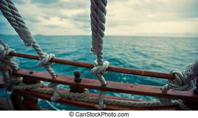 View From the Pirate Ship at Sea - view from the stern of...