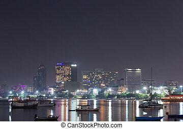 Cityscape of Pattaya beach at night