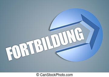 Fortbildung - german word for further education - text 3d...