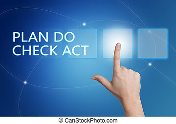 Plan Do Check Act - hand pressing button on interface with...