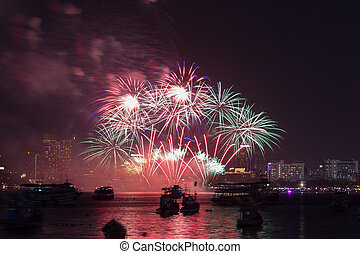 Pattaya International Fireworks Festival at Chonburi,...