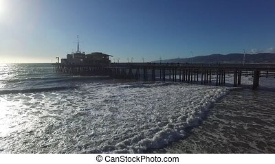 Landscape View of Santa Monica Pier on Pacific Ocean at...