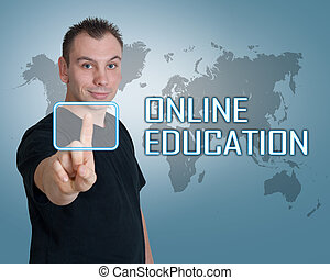 Online Education - Young man press digital Online Education...