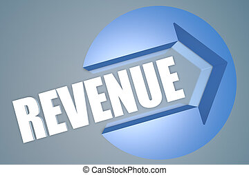Revenue - text 3d render illustration concept with a arrow...