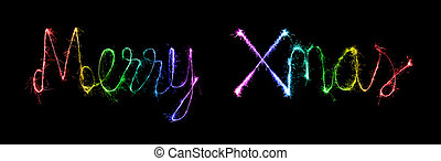 Merry Xmas made of sparkles firework at night background