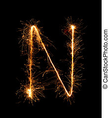 Sparkler firework light alphabet N (Capital Letters) at...