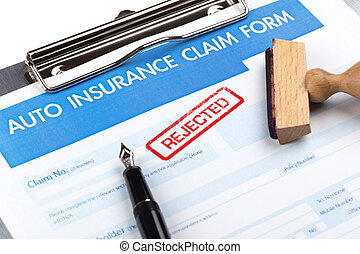 auto insurance claim form with stamp rejected