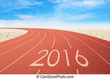 2016 on red racing track with sand and blue sky. 2016 new...