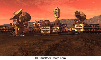 Colony on a red planet - Human settlement on a Mars like red...