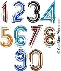 Calligraphic brush numbers with stripes, hand-painted bright...